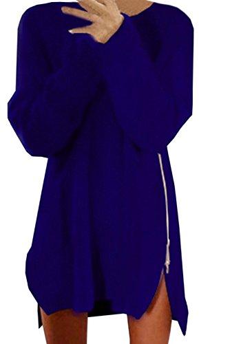 Damen Mode Rundhals Blusenkleider Einfarbig Lange Ärmel Kleid Reißverschluss Mit Schlitz Blusen Kleid Lose Freizeit Kleid Blau*