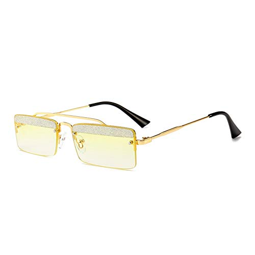 MJDABAOFA Sonnenbrillen,Kleines Quadrat Retro Sonnenbrillen Für Frauen Gold Frame Gelbe Linse Two-Tone Shining Gradient Objektiv Sonnenbrillen Für Männer