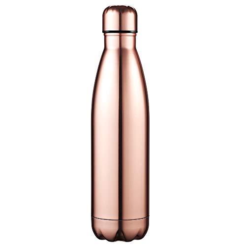 Anjoo bottiglia termica in acciaio inossidabile, leggero e compatto in bottiglia termica per ufficio, all'aperto, cucina, campeggio o sport - 500ml (oro rosa)