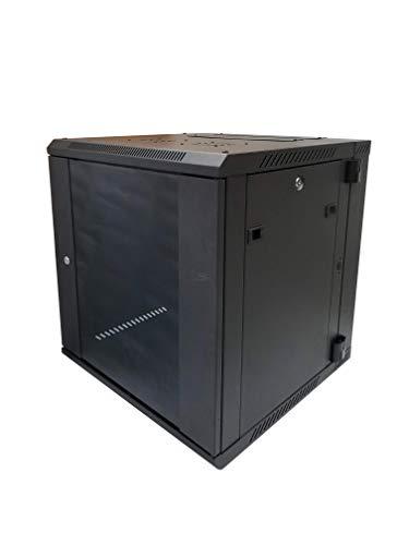 KENUCO Wandschrank mit Zwei Fächern, klappbar, für Server und Netzwerk, geschlossener Schrank, mit Schloss und Glastür 6u -