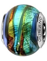 1001 Bijoux - Charms coulissant argent rhodié verre de Murano bleu rainure vert et marron