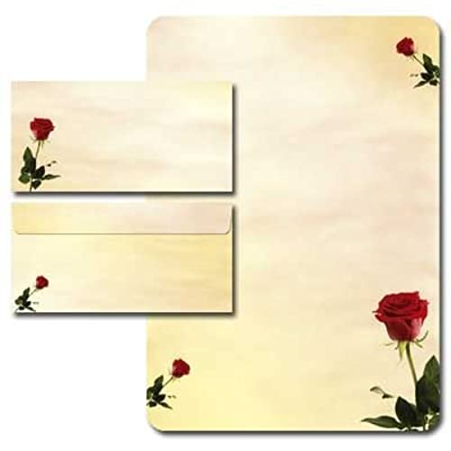 20 Piece Letter Writing Paper Set With Baccara Roses Design Paper 80 G/m²  With Rounded Corners DIN Long Envelopes Without Window  Design Paper For Writing