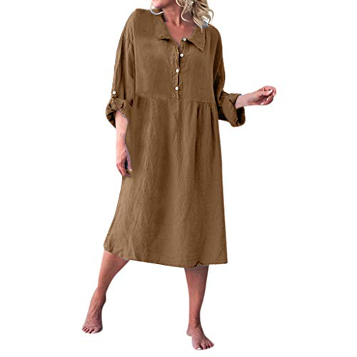 Overdose Damen Freizeit Kleider Leinenkleider 1/2 Ärmel Rundhals Einfarbig Casual Urlaub Sommerkleider Strandkleid Midi Dress Frauen kostüme übergröße (EU 44/CN 2XL, X-z-Braun)