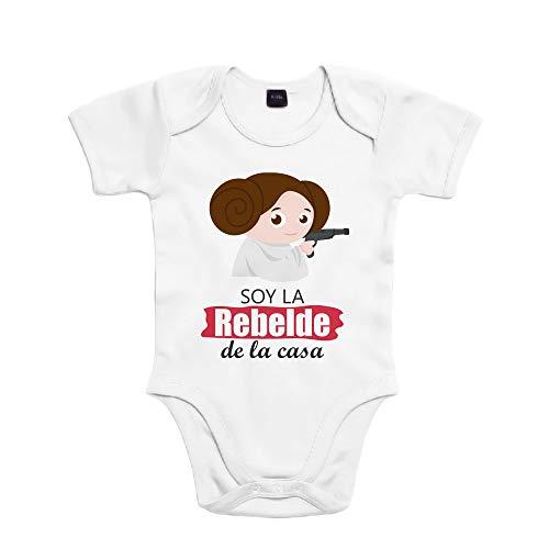 SUPERMOLON Body bebé algodón niña Soy la rebelde de la casa 3 meses Blanco...