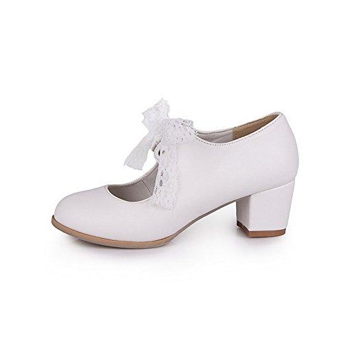 AllhqFashion Damen Mittler Absatz Rein Schnüren Weiches Material Rund Zehe Pumps Schuhe Weiß
