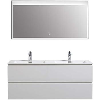 Meuble salle de bain Alice 1200 blanc haute brillance ...
