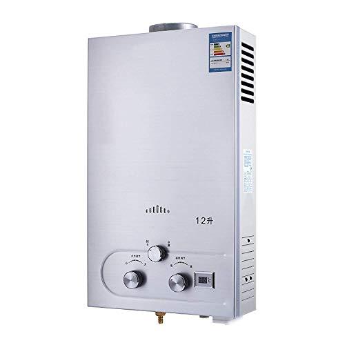 FlowerW 12L LNG Gas Warmwasserbereiter 3.2GPM Tankless Instant Boiler mit Dusche und LCD Anzeige Flüssigerdgas Durchlauferhitzer Set (12L LNG 3.2GPM) -