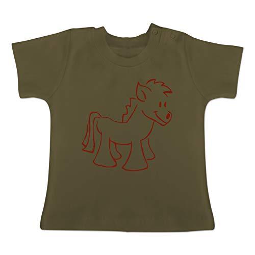 Tiermotive Baby - Pony - 6-12 Monate - Olivgrün - BZ02 - Baby T-Shirt Kurzarm