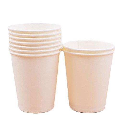 WDOIT 10 pcs jetables Tasses à café Vaisselle en Carton Boisson Chaude Mariage Pique-Nique Enfant fête d'anniversaire 250 ML, Papier, Beige, 250 ML