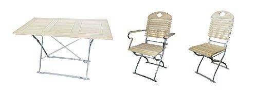 Biergartengarnitur 1x Tisch 120x70 cm & 4x Stuhl & 2x Sessel Edition-Exklusiv natur/verzinkt