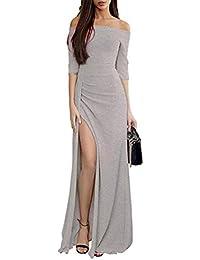 cef4153b4a66 Haobing Donna Paillettes Vestito Eleganti Vintage Senza Spalline Maxi  Maniche Lunghe Abito