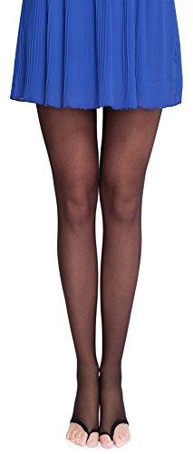 Merry Style Damen transparent zehenlose Strumpfhose Lycra MS 336 10 DEN (Schwarz, S (32-36)) -