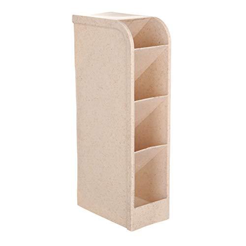 Weizen Stroh 4 Grid Desktop Storage Box Multi-Funktions-Bleistift Regal Organisator Stifthalter-Büro-Schule-Speicher-Fall Klar Box Schreibtisch-Feder-Bleistift-Organisator Beige -