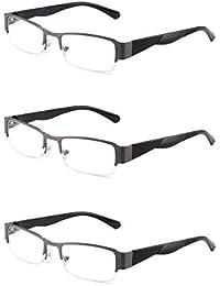JM 3 Paquete Bisagras de Resorte Gafas de Lectura Vintage Rectangular Anteojos Para Lectores Hombre Mujer