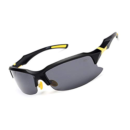 Epinki Uomo PC UV-Protezione Polarizzato Occhiali Protettivi Sportivoivo Bicchieri Sabbia Controllo Occhiali da Sole Occhiali Protettivi per Moto Bicicletta Casco Compatibile, Opaco Nero Giallo