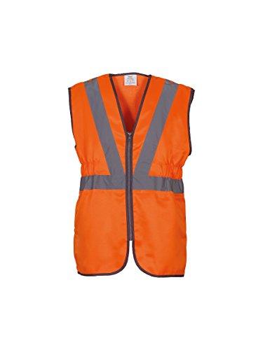 Salut vis premier chemin de fer pull-dehors gilet (HVW118) Orange