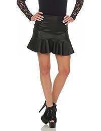 11044 Fashion4Young Damen Rock Minirock Rock Lederimitat Skirt Volantrock  Damenrock 5ba5e85651