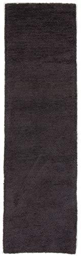 CarpetFine: Hochflor Softly Läufer Teppich 75x200 cm Grau - Einfarbig -