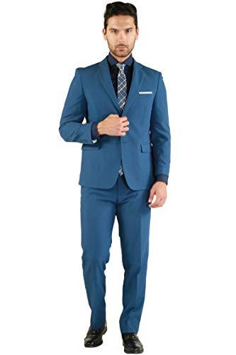 Lange Anzug Trennt (Ferrecci Paul Lorenzo Herren Anzug Slim Fit 2-teilig - Blau - 54 Lange/38W)