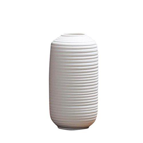 Vosarea Keramik Blumenvase Keramik Zylinder Vase Dekorative Blumenvase für Wohnkultur 15CM Hoch (weiß) (Zylinder Vase Herzstück)