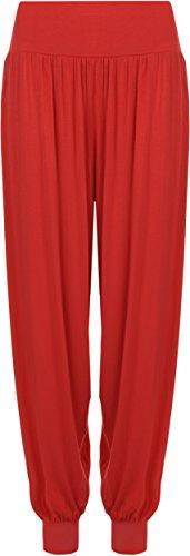 WearAll - Damen Übergröße Harem hose lange Länge elastisch - Rot - 44-46 (Hose Luxe Hose)