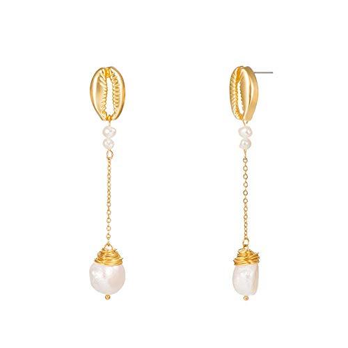 Qinlee Perle Ohrringe Anhänger für Damen mit Geometrie Design Ohrhänger Ohrstecker Frauen Mode Vintage Bohemian Gold Ohrringe Kreis Schmuck Anhänger Dekoration für Frau Hochzeit
