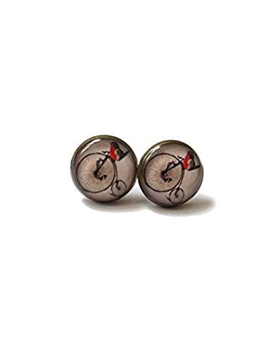 Robin Vögel Ohrringe-Vogel Ohrstecker-Quirky Ohrringe-Vogel Schmuck-Geschenk für sie-Love Bird Cute Bird Jewelry (Robin Fahrrad)