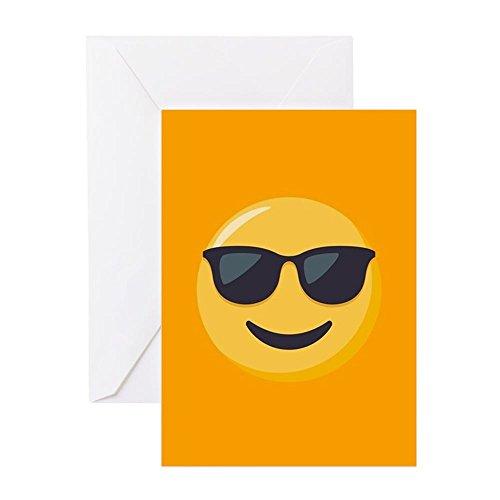 CafePress Grußkarte mit Sonnenbrillen-Emoji-Motiv, Grußkarte, Geburtstagskarte, innen blanko, glänzend