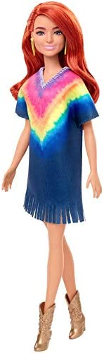 Barbie Fashionistas Doll #141 with Long Red Hair & Tie-Dye Fringe Dress G