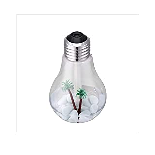 Bulb 400ML Humidifier USB Humidifier Air Diffuser 7 Changing Colors LED Lamp (Color : Silver)