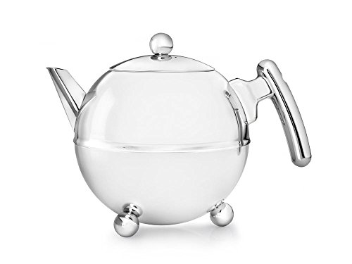 doppelwandige Teekanne Duet Bella Ronde Edelstahl glänzend  verchromte Beschläge 1,2 ltr.