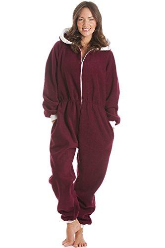 Combinaison pyjama à capuche - polaire - bordeaux Rouge