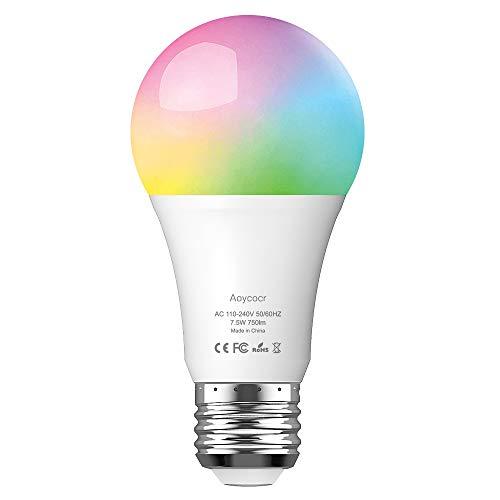 Smart WLAN LED Lampe E27 Wifi Glühbirne, Aoycocr Alexa Glühbirnen Mehrfarbige Dimmbare Lampe, 750 Lumen, 6500 Kelvin, Wifi Bulb Kompatibel mit Alexa Google Home IFTTT, 7.5W, APP Fernbedienung