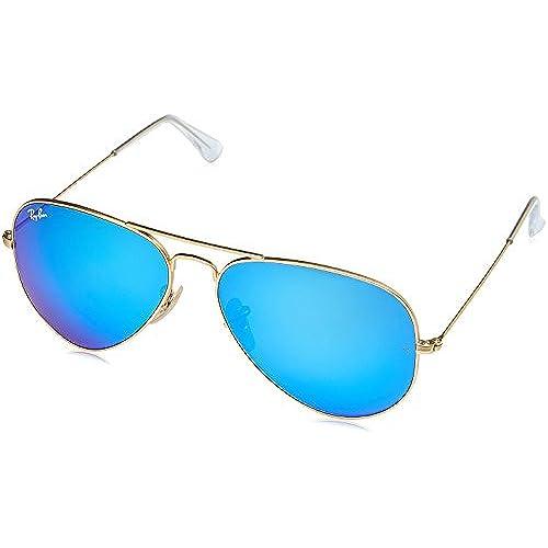 Ray-Ban Unisex Sonnenbrille Aviator, Gr. Large (Herstellergröße: 58), Gold (gold 112/17,Gläser: kristall grün, gespiegelt blau)