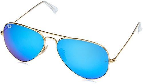 Ray Ban Unisex Sonnenbrille Aviator, Gr. Large (Herstellergröße: 58), Gold (gold 112/17,Gläser: kristall grün, gespiegelt blau)