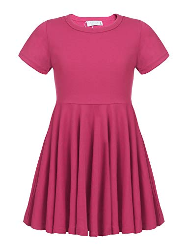 Kleid Mädchen Sommer A-Linie Kurzarm Baumwolle T-Shirt Kleider Freizeitkleidung, Rose Rot, 160 Rosen-sommer-kleid