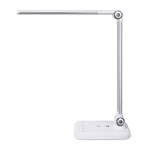 Desk Lamp, TaoTronics LED Desk Lamp with Wireless Charger, Dimmable Table Lamps, 5 Color Temperatures with 5 Brightness Levels, Integrated USB Port, Touch Control, 1H Timer