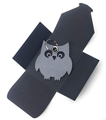 (filzschneider Schlüsselanhänger aus Filz - Eule/Nacht / Tier - grau/hell-grau - als besonderes Geschenk mit Öse und Schlüsselring - Made-in-Germany)