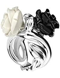 Rose Haylland Bague fleur César en argent 925, résine, noire et blanche, ... e20557647bbf