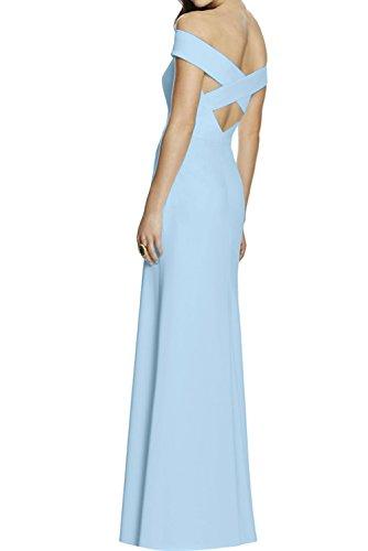 Ivydressing Modisch Neu 217 Bodenlang Chiffon Off-Schulter Hellblau Abendkleider Promkleider Ballkleider Etui Gelb