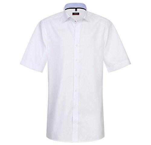 Eterna Herrenhemd Kurzarm Baumwoll Hemd Baumwollhemd Herren Business Hemden Freizeithemd Modern Fit Hellblau Weiss