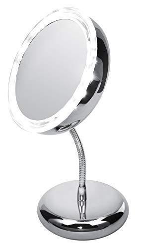 Adler AD 2159 Espejo con Iluminación LED para Maquillarse Portátil de 5 Aumentos, Aluminio, Cromo...
