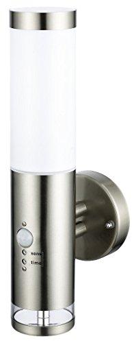 Edelstahl LED Außenwandleuchte - Wandleuchte Lisa 2 mit Hauptlicht und Grundlicht und Bewegungsmelder, Außenlampe Außenleuchte