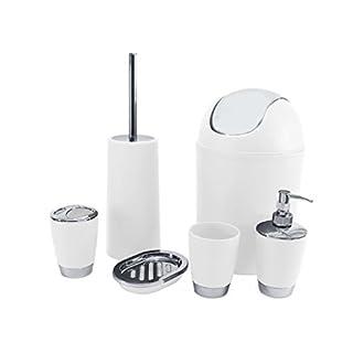 Badezimmer-Set, 6-teilig mit Seifenschale, Seifenspender, Zahnputzbecher weiß