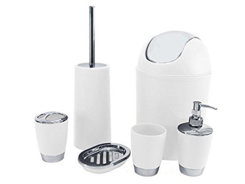 Badezimmer-Set, 6-teilig mit Seifenschale, Seifenspender, Zahnputzbecher weiß (Badezimmer Seifenschale)