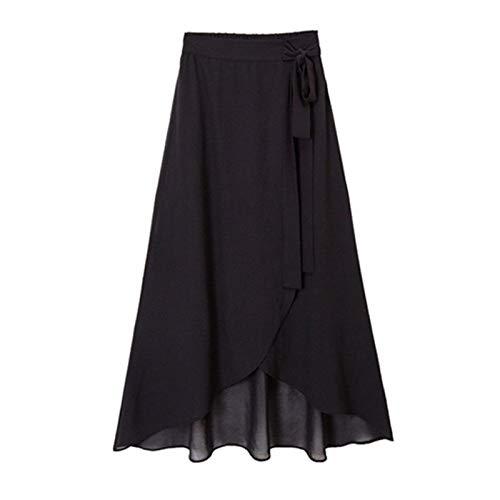 High-slit Skirt (WSLCN Damen Vintage Rock Lang Schnüren Elegant Boho Chiffon Unregelmäßigen Röcke Strand High Slit Skirt Große Größe Schwarz(Chiffon) (Asie 6XL) Für 100-115kg)