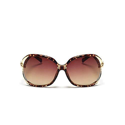 Sonnenbrillen, Weibliche Mode Übergrosse Sonnenbrille Frauen Rahmen Kunststoff Sonnenbrille Outdoor Reisen Fahren Sonnenbrillen Brillen Uv400 Bean Blume Braun Rahmen Gold Rim Farbverlauf Braun Linse