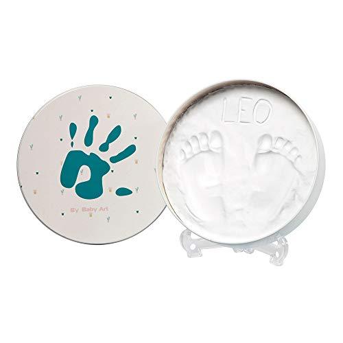 Baby Art - Geschenkbox aus Metall, Rund, besondere Geschenke Box mit Gipsabdruck zum Selbermachen für Baby Fußabdruck oder Handabdruck, Essentials