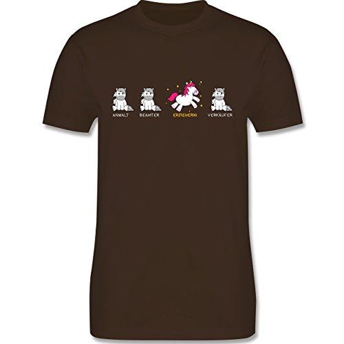 Shirtracer Sonstige Berufe - Erzieherin Einhorn - Herren T-Shirt Rundhals Braun