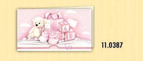 20 pz bigliettini bigliettino bomboniera nascita battesimo rosa bambina orsetto e giochi